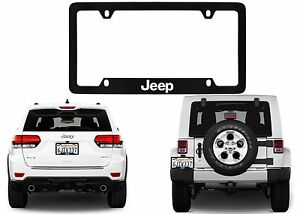Black Jeep Metal Engraved License Plate Frame Xj Jk Zj Yj Cj New Free Shipping