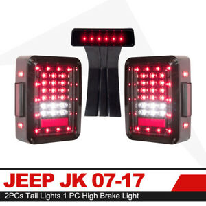 2 Pcs Led Rear Tail Lights Third High Brake Light For 07 18 Jeep Wrangler Jk