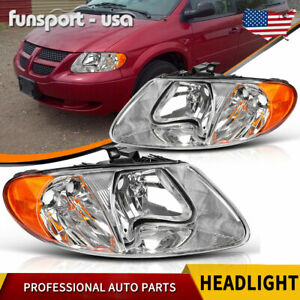 For 01 07 Dodge Caravan Town Country 01 03 Voyager Chrome Headlights Headlamps