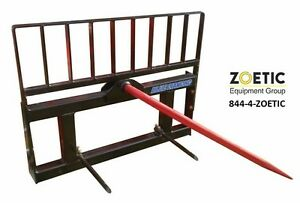 Blue Diamond Single Hay Spear Skid Steer Attachment With Standard Stabilizers