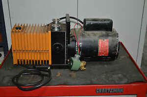 Alcatel Dual stage Rotary Vane Mechanical Vacuum Pump 1 2 Hp Ac Motor