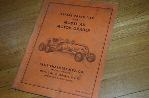 Allis Chalmers Model Ad Motor Grader Parts Manual Book Catalog Spare Road Plow