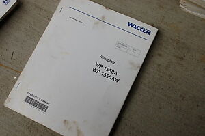 Wacker Wp 1550a 1550aw Vibroplate Owner Operator Operation Maintenance Manual
