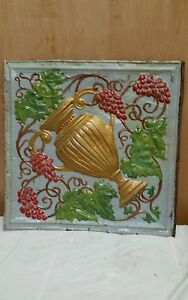 24 X 24 Antique Ceiling Embossed Tin Tile With Grapes And Urn Rare 1