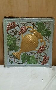 24 X 24 Antique Ceiling Embossed Tin Tile With Grapes And Urn Rare 2