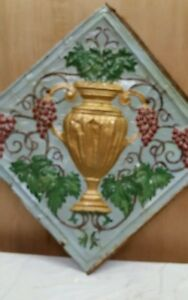 24 X 24 Antique Ceiling Embossed Tin Tile With Grapes And Urn Rare 3