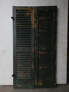 Two Antique Red Green Shutters Window Wood Louvered Shabby Old Chic 15x55 10 17r