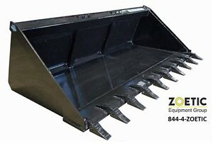 Blue Diamond Skid Steer Severe Duty Long Bottom Tooth Bucket 72 18 75 Cu Ft