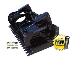 Blue Diamond Skid Steer Extreme duty Rock Bucket Attachment W Grapples 84