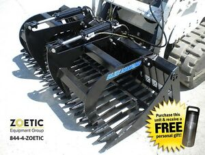 Blue Diamond Skid Steer Standard duty Rock Bucket Attachment 78 W Grapples