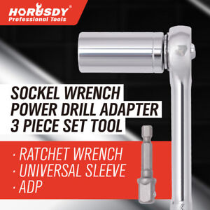 New Horusdy Grip Universal Socket Wrench Power Drill Adapter 3 Piece Set Tool