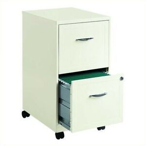 Hirsh Soho 2 Drawer Mobile Metal File Cabinet In White