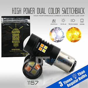 1157 White Amber Projector Dual Color Switchback Led Signal Light Bulbs Resistor