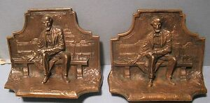 Vintage Lincoln Solid Bronze Bookends Bench Capital Washington By G Borglum
