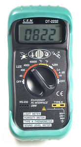 Dt2232 4in1 Thermometer Light Lux Humidity Sound Meter Pc Rs 232 Serial Port New