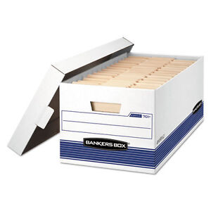 Bankers Box Stor file Storage Box Letter Locking Lid White blue 4 carton