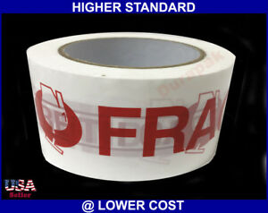 24 Rolls 2 Mil 3 Fragile Caution Printing Carton Sealing Shipping Tape 110 Yard