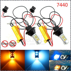 2 Error Free Dual Color 7440 T20 Switchback Led Bulbs Turn Signals Or Drl