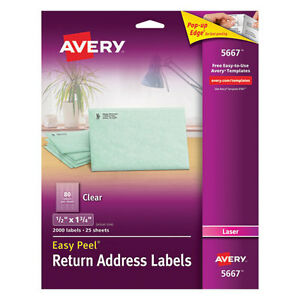 Avery Clear Easy Peel Return Address Labels Laser 1 2 X 1 3 4 2000 box