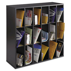 Safco Wood Mail Sorter With Adjustable Dividers Stackable 18 Compartments