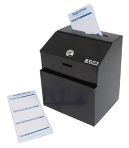 Adir Wall Mountable Steel Suggestion Box With Lock Donation Box Collectio