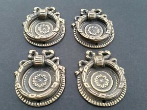 4 Ornate Round Ring Pull Handles With Detailed Ribbon Backplate 1 5 8 H23