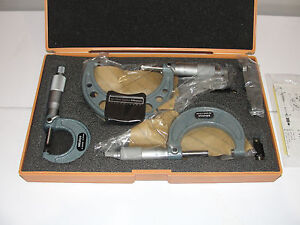 Mitutoyo 103 927 Outside Micrometer Set 3 Piece Set