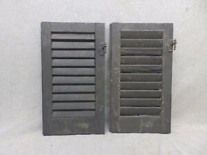 Two Antique Shutters Window Wood Louvered Shabby Old Chic 21x12 72 17r