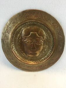 Antique Moroccan Hand Etched Brass Tray