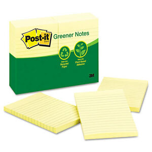 Post it Recycled Note Pads 4 X 6 Lined Canary Yellow 100 sheet 12 pack