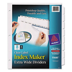 Avery Print Apply Clear Label Dividers W white Tabs 8 tab 11 1 4 X 9 1 4
