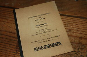 Ac Allis Chalmers Hd 7w Tractor Parts Manual Owner Operator Book Catalog Spare