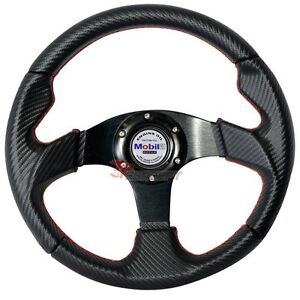 320mm Steering Wheel Black Carbon Fiber Pvc Leather Red Stitch Mobil White Logo