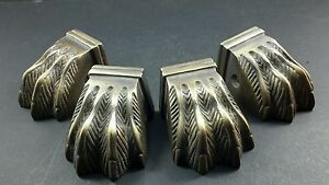 4 Antique Style Solid Brass Table Legs Lion Feet Foot Caps Architectural X8