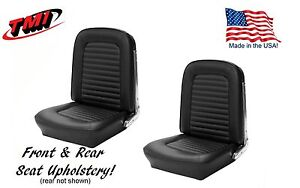 1964 1965 Mustang Front And Rear Seat Upholstery Black Vinyl By Tmi in Stock