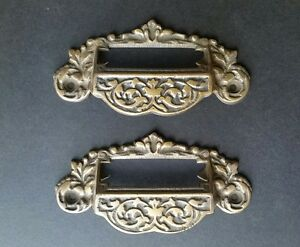 2 Victorian Antique Style Apothecary Bin Pull Handles W Label Holder 3 3 4 C A7