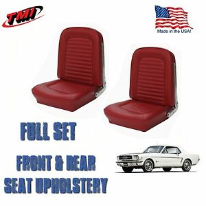 1964 1965 Mustang Convertible Seat Upholstery Red Front Rear In Stock
