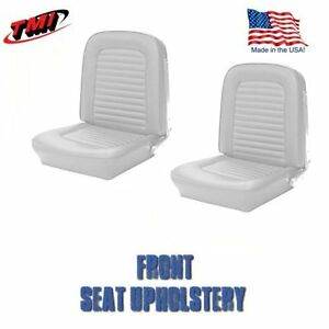 1964 1965 Mustang Front Bucket Seat Upholstery White Vinyl By Tmi in Stock