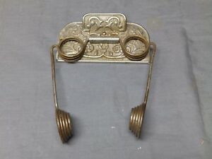 Antique Nickel Cast Iron Wire Spring Victorian Toilet Paper Holder Old 107 17e
