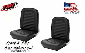 1966 Mustang Coupe Front And Rear Seat Upholstery Black Vinyl By Tmi in Stock