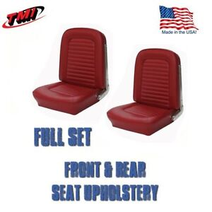 1966 Mustang Convertible Front And Rear Seat Upholstery Red By Tmi in Stock
