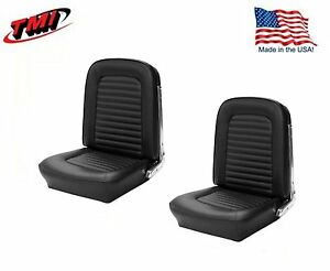 1966 Mustang Front Bucket Seat Upholstery Pair Black Made By Tmi