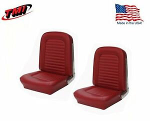 1966 Mustang Front Bucket Seat Upholstery Pair Drk Red Made By Tmi In Stock
