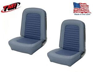 1966 Mustang Front Bucket Seat Upholstery Pair Blue Made By Tmi In Stock