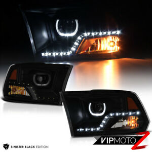 sinister Black 2009 2018 Dodge Ram 1500 2500 3500 Smoke Led Projector Headlight