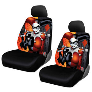 New Suicide Squad Harley Quinn Car Truck 2 Front Seat Covers Headrest Covers