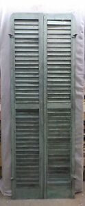Antique Pair Rounded Arched Wood Louvered Shutter Shabby Vtg Chic 74x13 115 17r