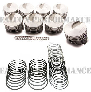 Ford 429 Super Cobra Jet Forged Flat Top Pistons Moly Ring Kit 30 Gaskets Hv Op