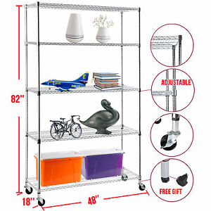 82 x48 x18 Adjustable Heavy Duty 5 Tier Wire Shelving Rack Steel Shelf Chrome
