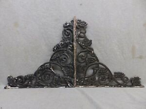 Pair Antique Cast Iron Grapevine Shelf Corbels Brackets Old Vtg Hardware 125 17r